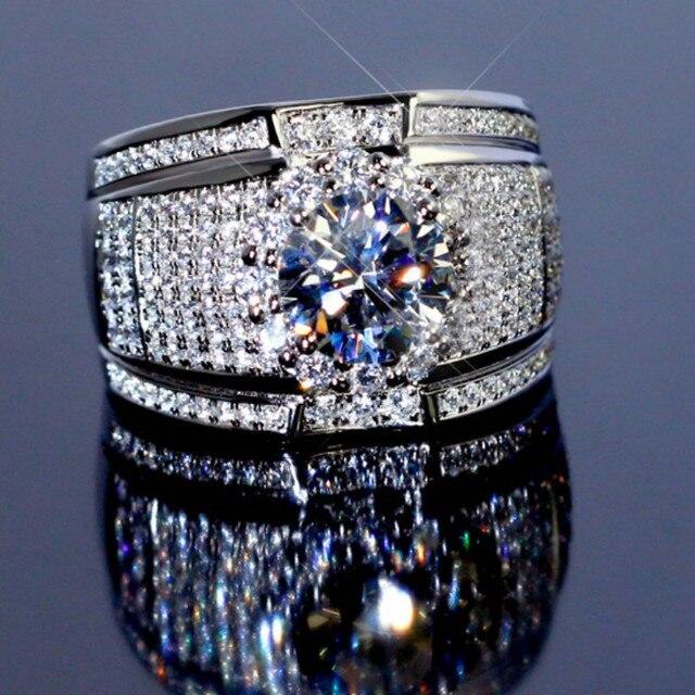 2019 nowy 925 Sterling Silver kolor duża cyrkonia kamienne pierścienie dla kobiet Man Fashion Wedding biżuteria zaręczynowa