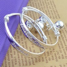 2pcs Children Baby Girls Boys Toddlers Adjustable Size 925 Sterling Silver Bracelet Fashion Jewelry XIN-Shipping(China)