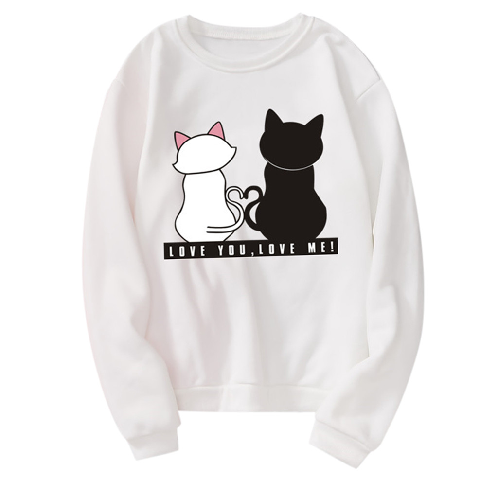 Fashion cute Sweatshirt woman Unisex Men Women Casual Long Sleeve Cat Printed Sweatshirt Pullover sweatshirt jogging femme