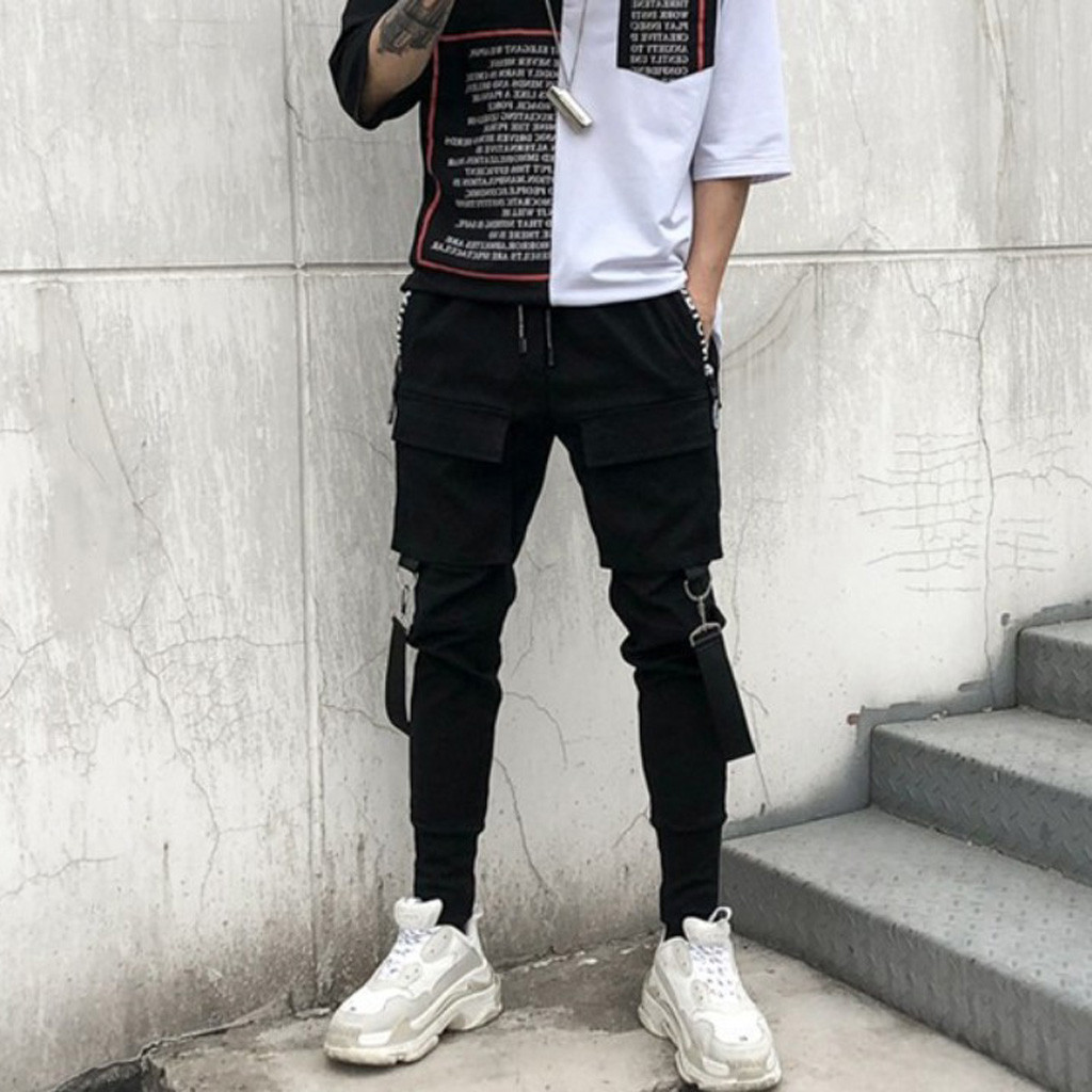 Corriee Mens Fashion Pencil Pants Mens Hip Hop Trousers with Pockets Male Cool Streetwear Bottom