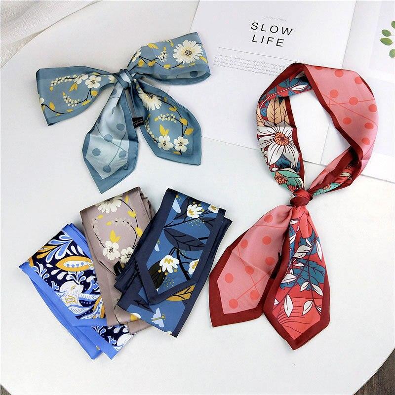 2019 New 7x92cm Long Skinny Hair Neck Tie Collar Scarf Ladies Flower Printed Silk Satin Head Handbag Ribbon Scarfs For Women