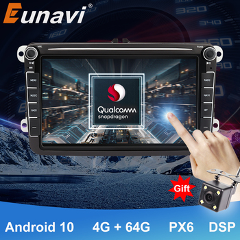 "Eunavi 8"" 2Din Android10 Car Radio For VW Passat B5 B6 CC Polo GOLF 5 6 Touran Jetta Tiguan Touran Bora Magotan CC Autoradio DSP image"