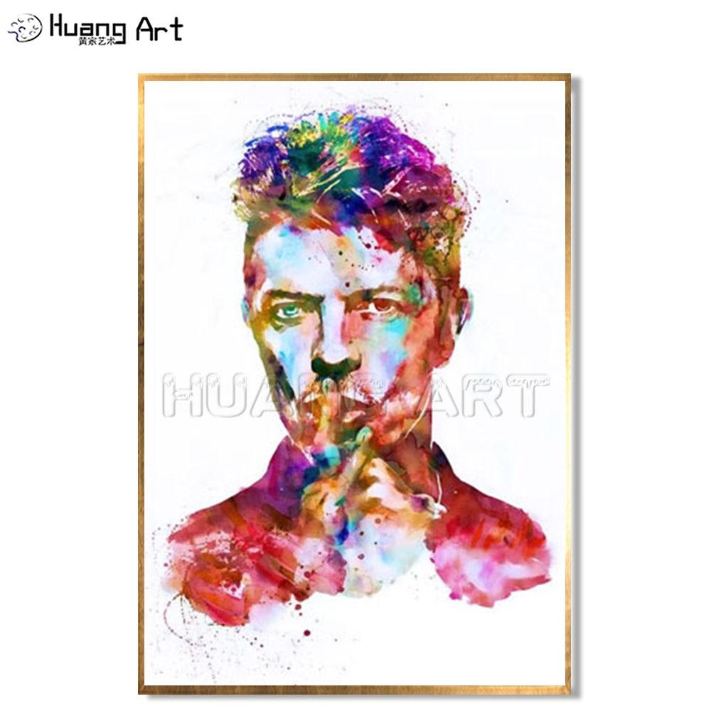 37 79 54 De Réduction Top Artiste Peint à La Main Abstrait David Bowie Peinture à L Huile Mur Peinture Pop Chanteur Coloré Portrait Peintures Décor