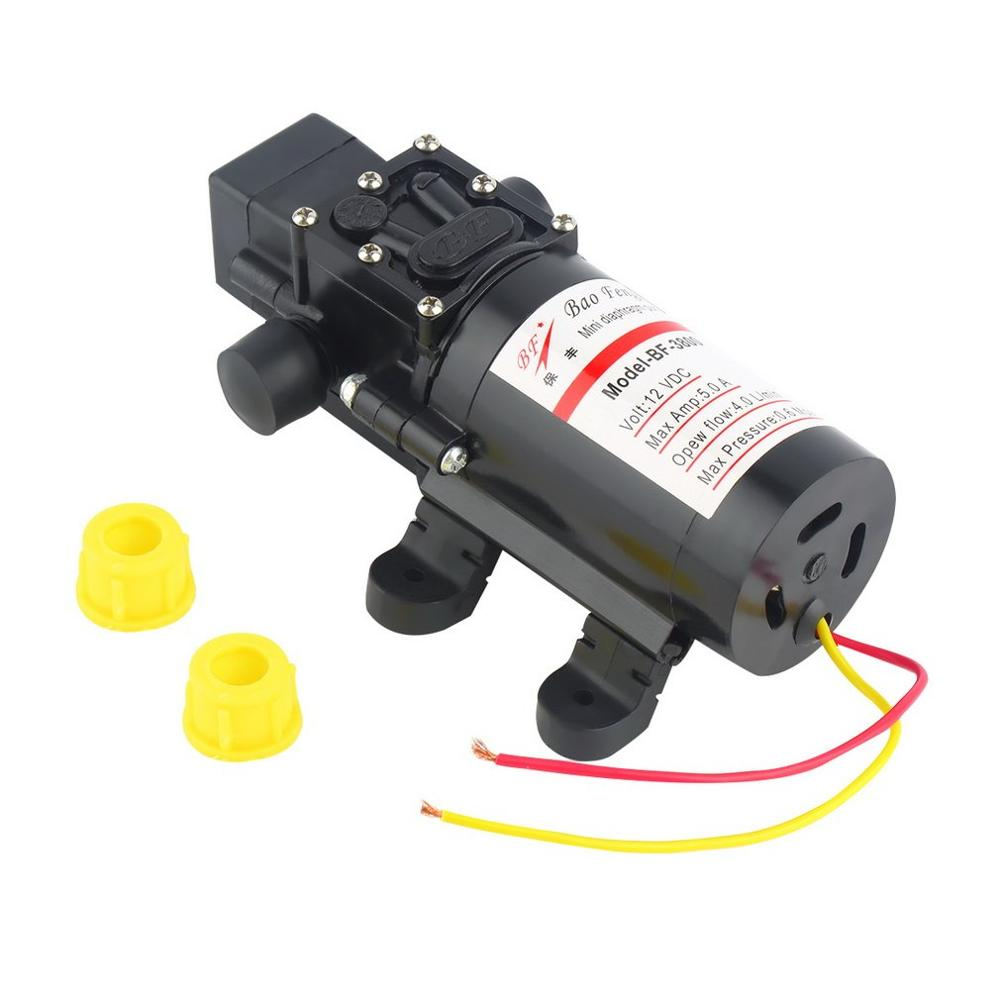 DC 12V 60W Motor High Pressure Diaphragm Water Self Priming Pump 4.0L/Min Waterproof Automatic Pump Black