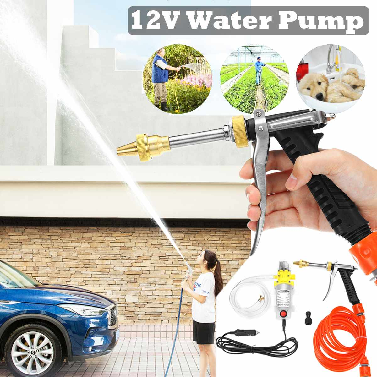12V 120W High Pressure Car Electric Washer Wash Pump Set Portable Auto Washing Machine Kit With Car Cigarette Lighter