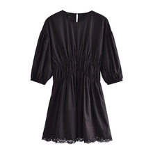 Women 2021 Chic Fashion With Lace Trims Pleated Mini Dress Vintage O Neck Three Quarter Sleeve Female Dresses Vestidos