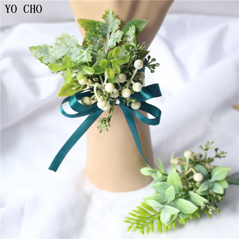 Artificial Green Plant Wrist Flower Palstic Succulent Wrist Corsage Bracelet Bridal Brooch Man Boutonniere Dress Accessory
