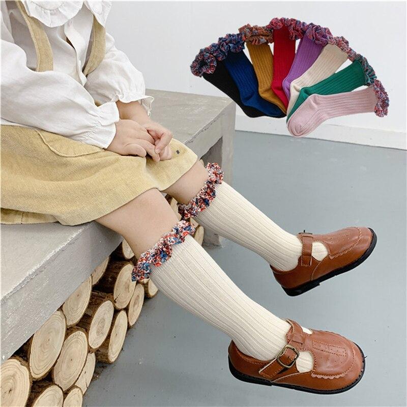 Children Fashion Socks With Lace Decor Knee High Ruffle Stuff Princess Socks Smaller Girls Baby Warmers For Kids 1-7 Years