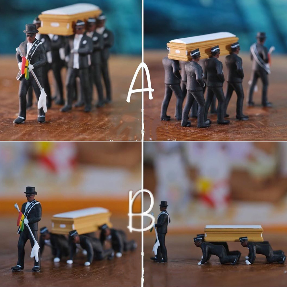 Ghana Dancing Pallbearers Coffin Action Figure Toy Cosplay Ghana Dance Funeral Professional Team Toys Costume Props