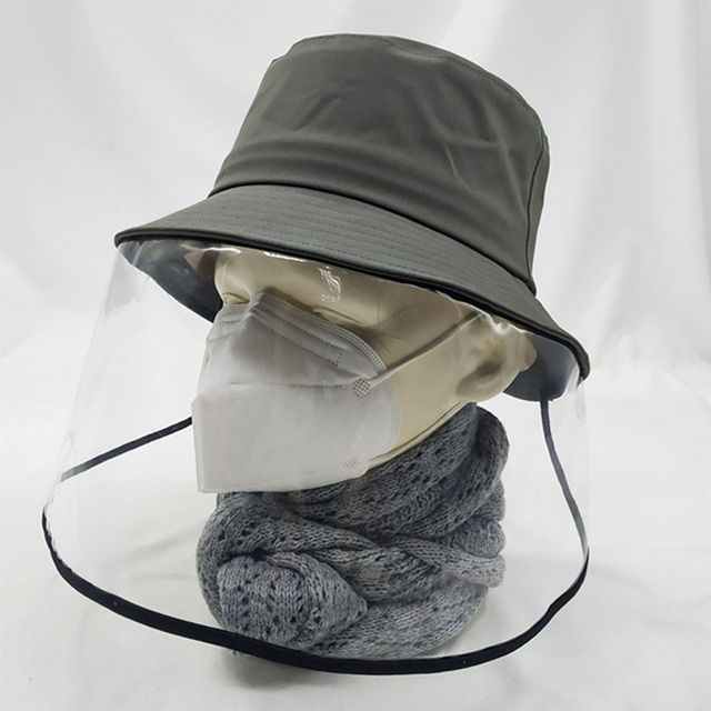 mascherine Anti-Saliva Dual-use Hat Protective Face Shield Cover Hat Anti Spitting Saliva Drool Fisherman Cap with Clear Facia 1