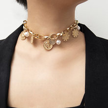 New Ladies Necklace Vintage Imitation Pearl Coin Pendant Necklace Women Chain Jewelry Accessories Collares De Moda 2019(China)