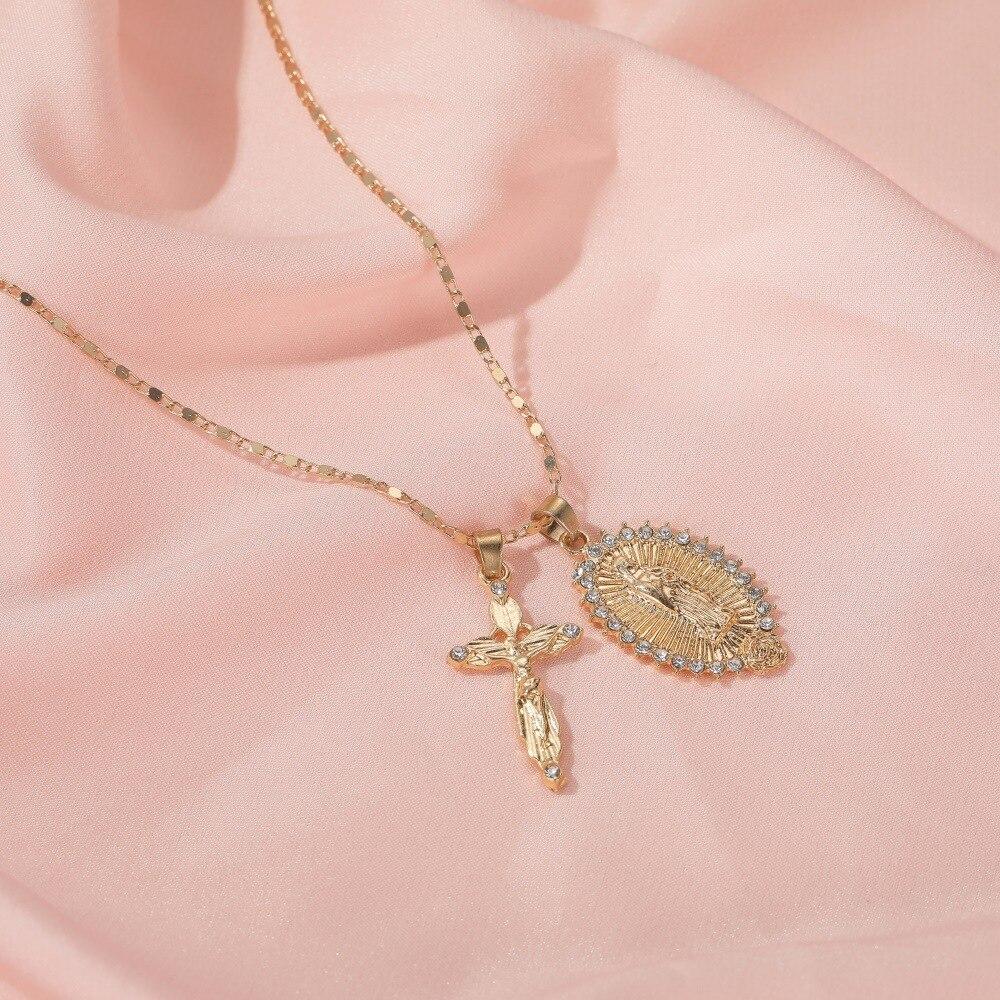 Женское ожерелье с крестиком в стиле ретро, золотая цепочка чокер со стразами, ювелирные изделия, оптовая продажа