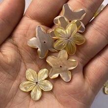 2 шт бусины в виде ракушки резные цветы аксессуары желтый свободный