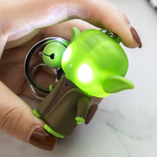 Star Wars Alien Yoda Eyes LED Glowing Sound 3D Plastic Decoration Toy Keychain Holiday Birthday Party Memorial Pendant(China)