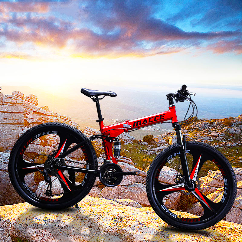 BIKES Mountain Folding Bicycle 26 inch Tire 21/<font><b>24</b></font>/27 Speed <font><b>BMX</b></font> Shock Absorption Caborn Steel Frame Double Disc Brake Fat Bike image