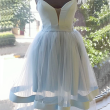 Homecoming-Dress Sleeveless Short Sweetheart Tiered Sky-Blue Backless