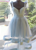 Sky Blue Short Homecoming Dress 2020 New Lace up Shoulder Sweetheart Neck Tiered Sleeveless Backless Cocktail Dress فساتين السهر