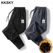 KKSKY Mens Warm Sweatpants Cotton Thick Pants Winter Oversized Joggers Man Clothing Streetwear Sports Fashion Trouser 8XL 2020