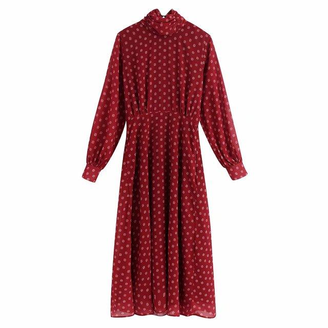 Casual vesitidos red za 2019 a-line high waist women dress print turtleneck midi dress autumn ropa mujer office lady 2
