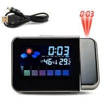 Проекционный будильник с метеостанцией Термометр Отображение даты USB зарядное устройство Повтор проекция светодиодный цифровые часы