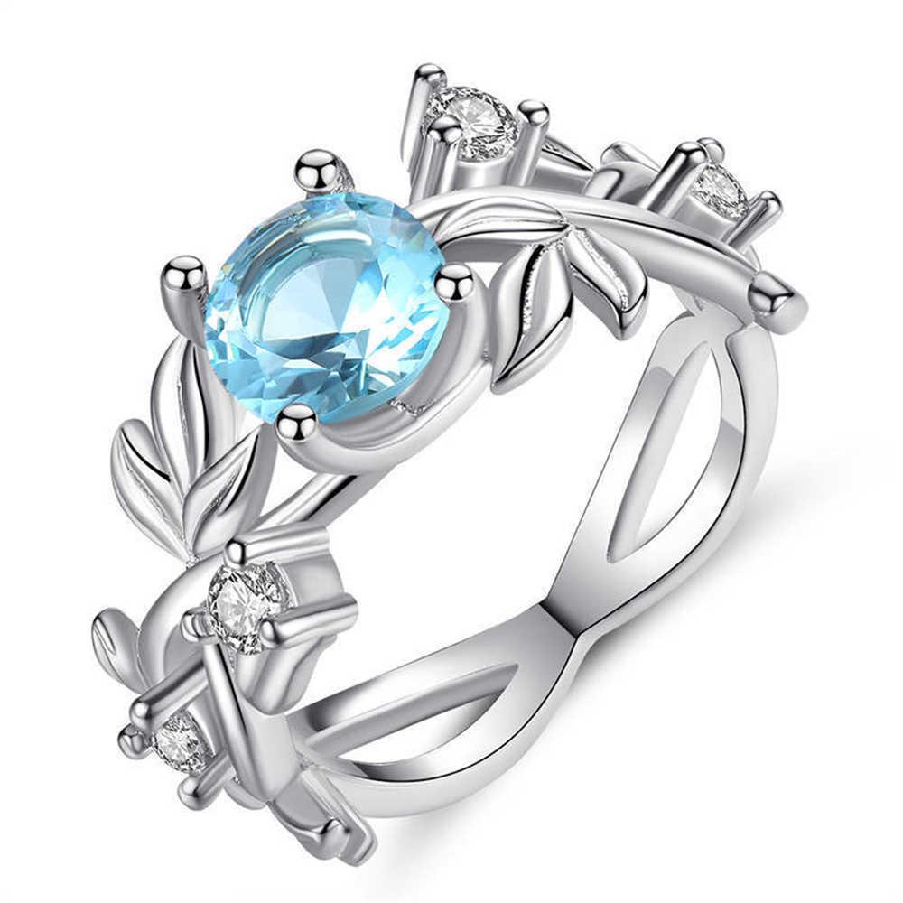 2020 ربيع جديد خاتم مطعمة AAA الزركون ليف شكل كبير الأزرق كريستال خاتم السيدات النساء مجوهرات الزفاف المشاركة