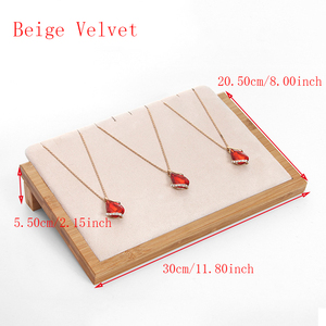 Image 2 - Bamboo Wood Velvet/PU Leather Necklace Pendant Display Stand Holder Women Jewelry Display Rack Holder Storage Case 30*20.5cm
