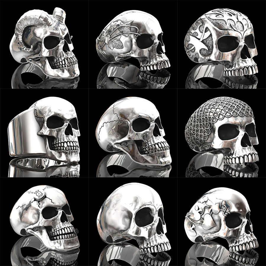 ใหม่ VINTAGE เงินสังกะสีโลหะผสม Skull BIKER แหวนผู้ชาย ROCK ROLL Gothic Punk Skeleton แหวนสะโพก hop เครื่องประดับของขวัญ