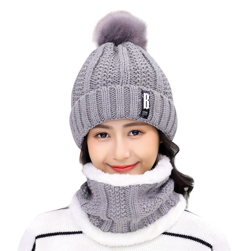Fashion Plus Velvet Knitted Glove Sets 2019 Autumn And Winter Thickening Scarf To Keep Warm A Few People Knitted Wool Cap Set