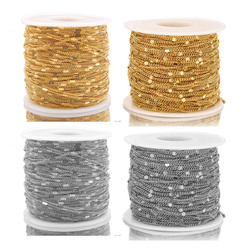 2 Meters Stainless Steel Gold Flatten Satellite Beaded Dainty Chain for Women Necklace Making DIY Chain Supplies