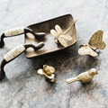 American European Retro Brass Small Butterfly Orchid Handle Wardrobe Cabinet Shoe Cabinet Drawer Cabinet Door Pure Copper Handle