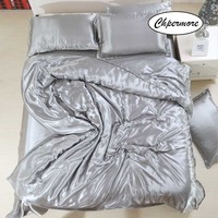 Chpermore 100% Tencel Simple Bedding set Solid color Duvet cover Sets Bed Sheets pillowcases 3/4 PCS Twin Queen King Size