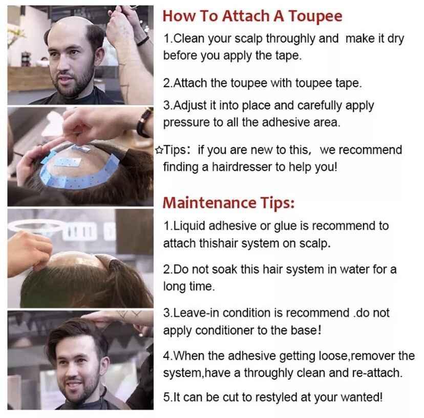 MW peruka męskie peruki ludzki włos System PU + grzywny Mono netto trwałe 100% Handtied 6 cali 150% gęstość peruka z włosów typu Remy Toupees