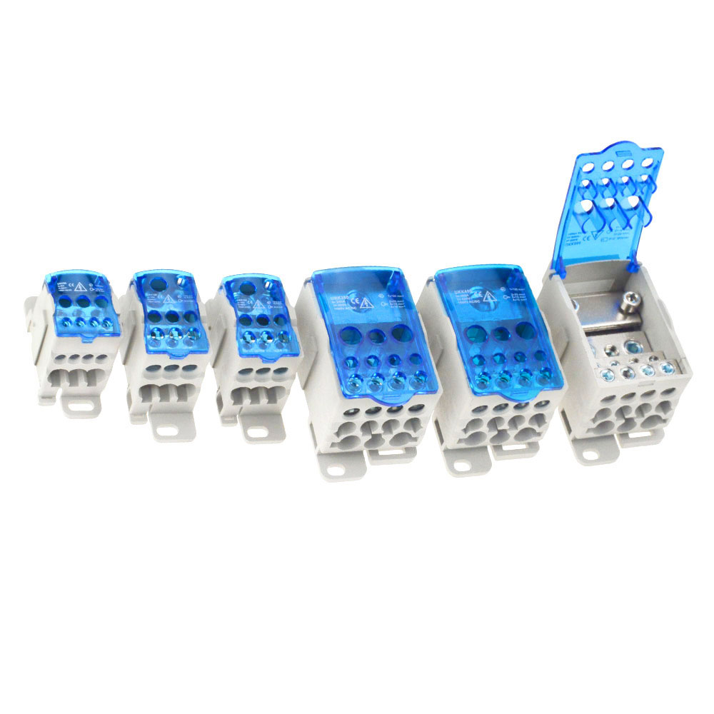 UKK80A 125A 160A 250A 400A 500A Terminal Block 1 in many Out Din Rail distribution Box Universal Electric Wire Connector image