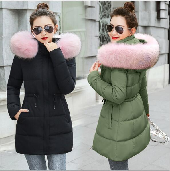 New 2019 Winter Fake Fur   Parkas   Women Down Jacket Fashion Slim Hooded Thick Snow Wear Warm Coat Lady Clothing Female Jackets
