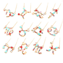 Twelve Constellations Crystal Rhinestone Necklace Statement Golden Pendant Women Jewelry Horoscope Chain Charm