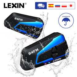 LEXIN Motorcycle Bluetooth Wireless Helmet Headset Intercom for 1-4 riders with Noise reduction and FM,GPS,MP3 Music
