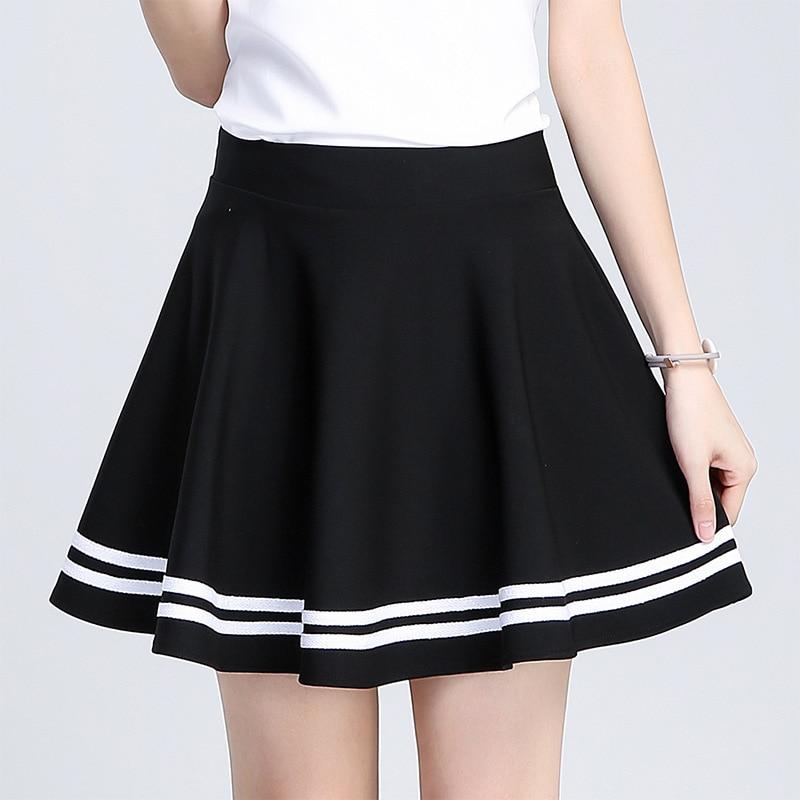 #0223 School Skirt Girls High Waist Mini Skirt Sexy White Striped Harajuku Pleated Skirt Ladies Black Short Skirt Women A-Line