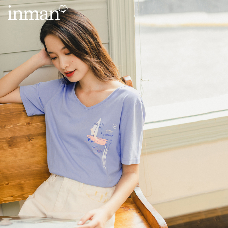 INMAN Summer New Arrival V Neck Print  Holiday Causal Style Fit Clavicle Exposed Short Sleeve T-Shirt