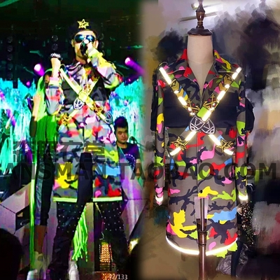 Long Fluorescent Camouflage Military Uniform Badge Set Original Male Singer Male DJGD Party Show Stage Costume Clothing For Men