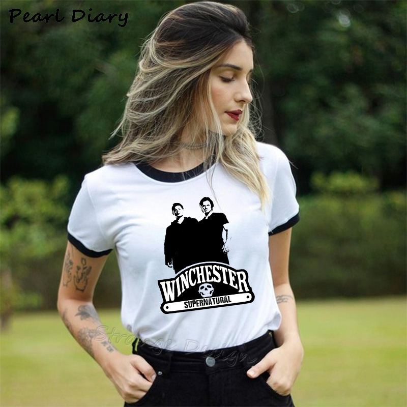 New Arrival Supernatural Dean Sam Winchester White T Shirt Dean Winchester Funny Cartoon Print Women's T-shirt Scooby Doo Tees