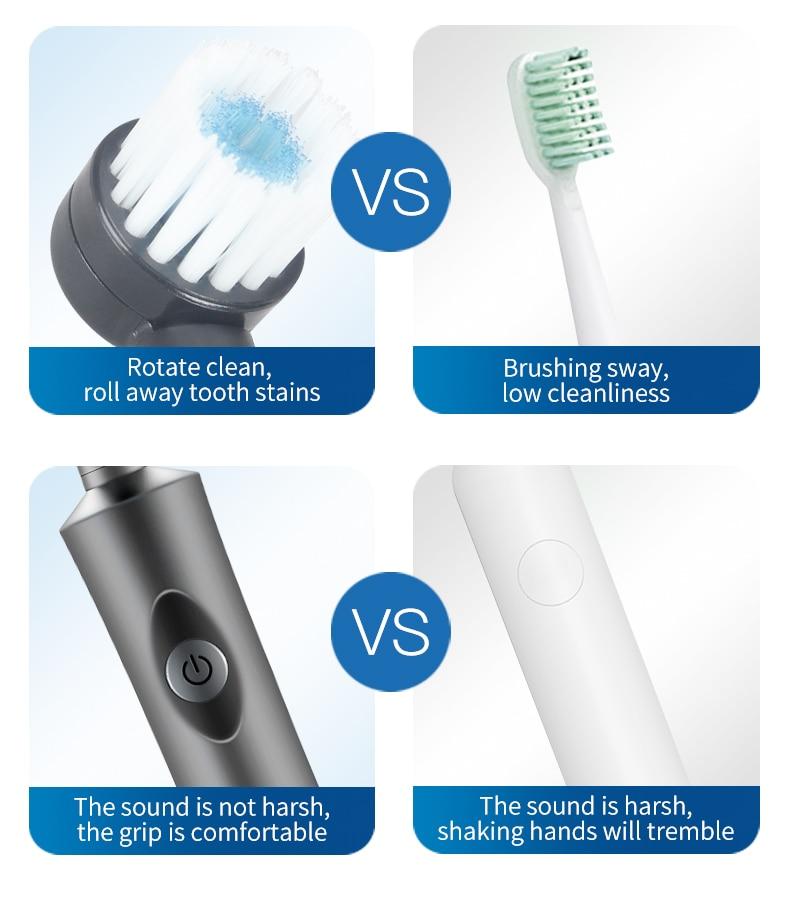 Rotativa escova de dentes elétrica recarregável macio