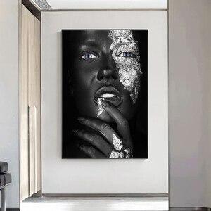 Серебряная Сексуальная черная темная кожа Женская фотография плакаты и принты Настенная картина для гостиной
