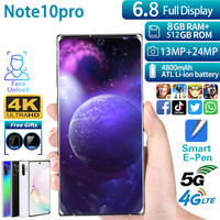 Telefones celulares desbloqueados note10pro smartphone mtk6799 telefone móvel 6.8 polegada hd celular 3 gcelular 8gb + 512gb 13mp + 24mp