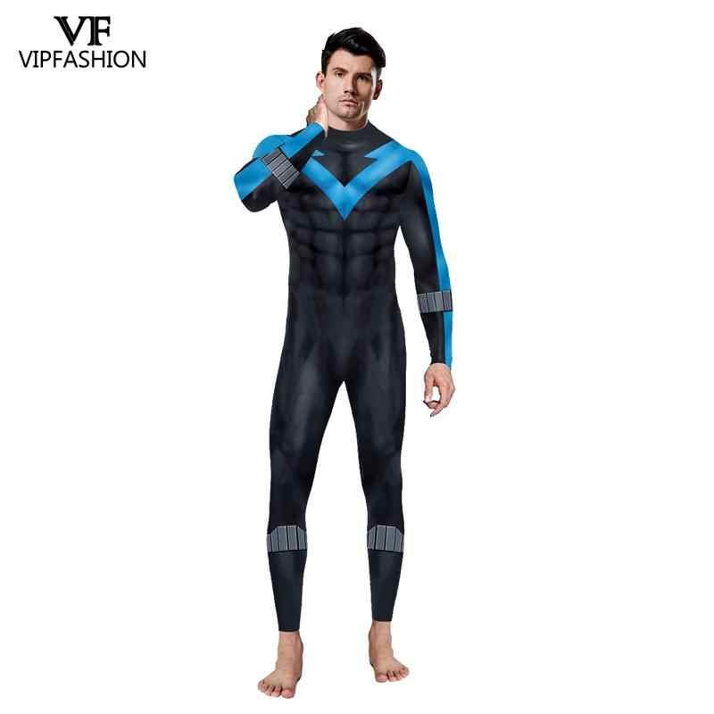VIP di MODA Per Adulti DC Comic Batman Nightwing Costume Cosplay Arkham City Richard John Dick Grayson Vestito Superhero Zentai Suit