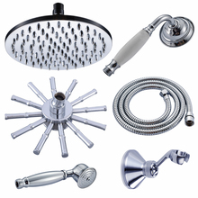 Polished Chrome 8 Inch Round Rainfall Shower Head Shower Arm Water Saving Hand Held Shower Head Spray 1.5 M Shower Hose