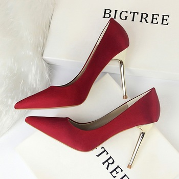Yalnn Fashion Simple Women Shoes High Heels Shallow Pointed Toe Sexy Daily Shoes High Hell Pumps Basic  Casual  Slip-On Pumps