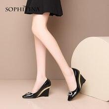 Женские офисные туфли лодочки sophitina элегантные на танкетке