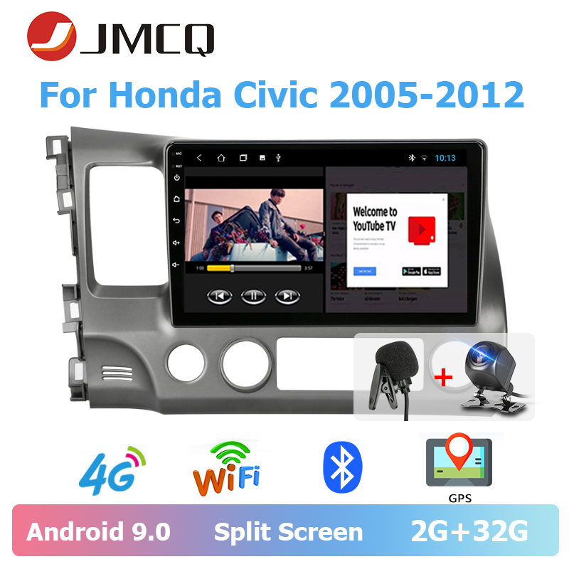 JMCQ Car Radio Android 9.0 player For Honda <font><b>Civic</b></font> 2005-2012 Multimedia Video Player 2din T3L DSP Stereos Split Screen with Frame image
