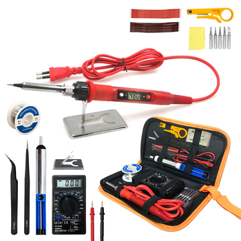80W Digital Electric Soldering Iron 220V 110V Temperature  Adjustable LCD display Solder welding iron tool kit  Tips 60W/80W free shipping wit w802 digital lcd adjustable temperature electric soldering station electric soldering iron 110v 220v 80w