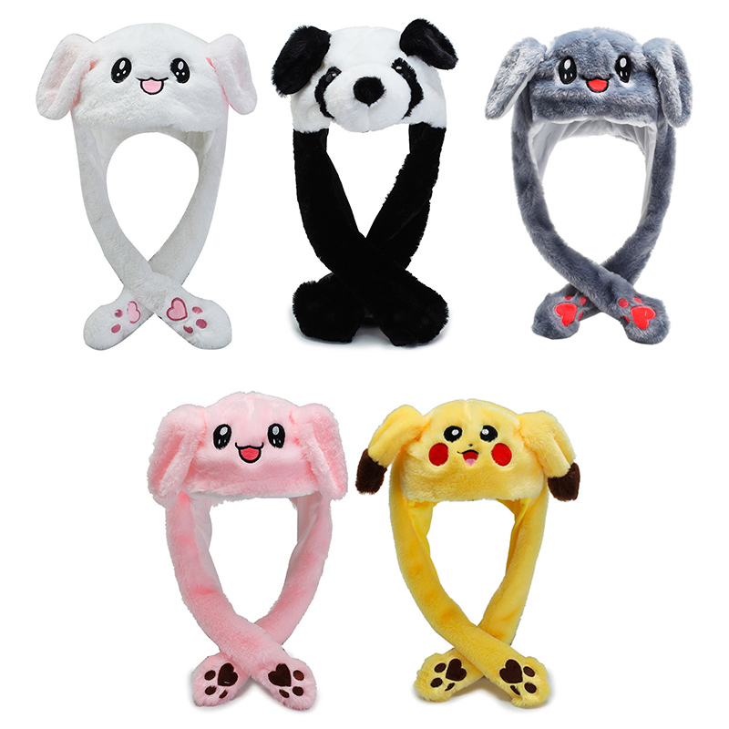 2020 Rabbit Women's Hat Beanie Plush Can Moving Bunny Ears Hat With Earflaps Movable Ears Hat For Women/child/girl TTM-CZX33